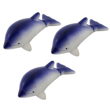 sourcing map Peces de Acuario Tanque plástico de Animales Marinos de Forma Delfines Ornamento Blanco Azul