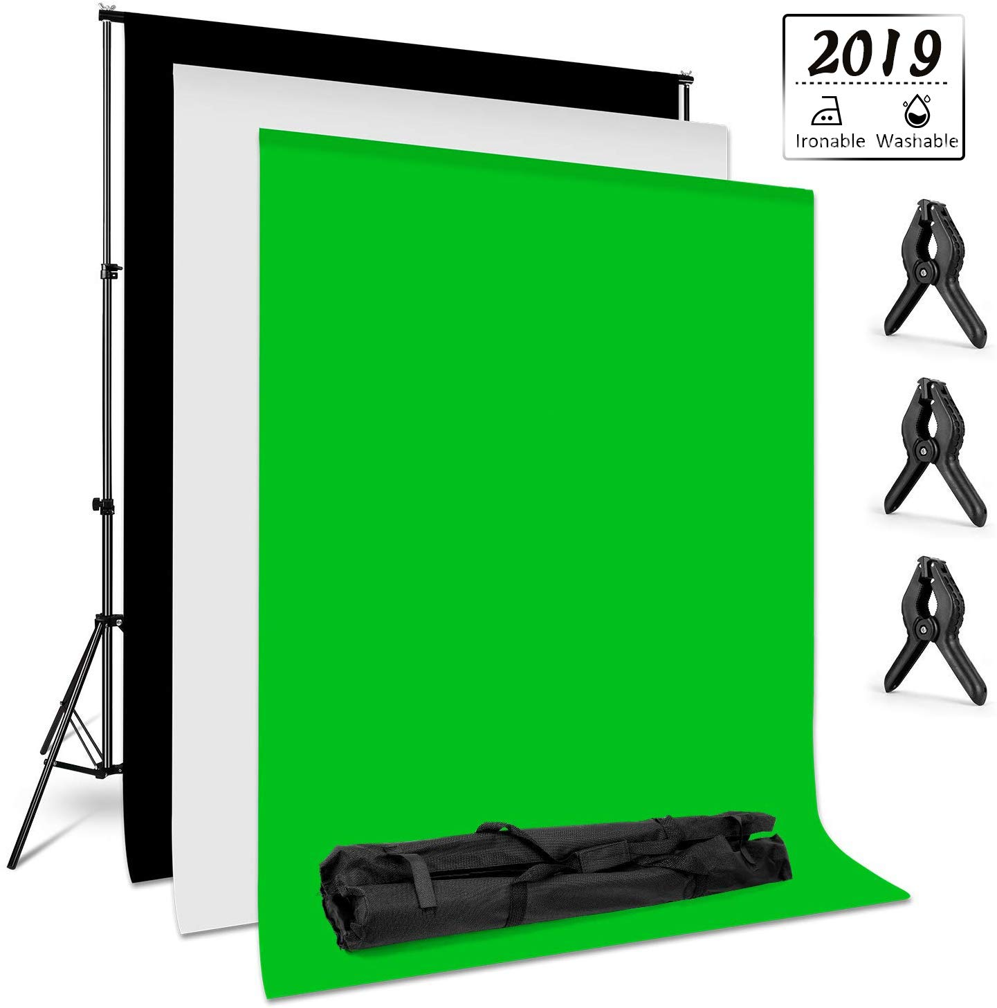 Amzdeal Photography Backdrop Stand 6.6ft X 10ft Photo Backdrop Stand Kit Washable White Black Green Background Stand Support System with 3 Clamps and a Carrying Bag by amzdeal