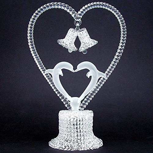 Dolphins Kissing Wedding Cake Topper of Hand Blown Glass -