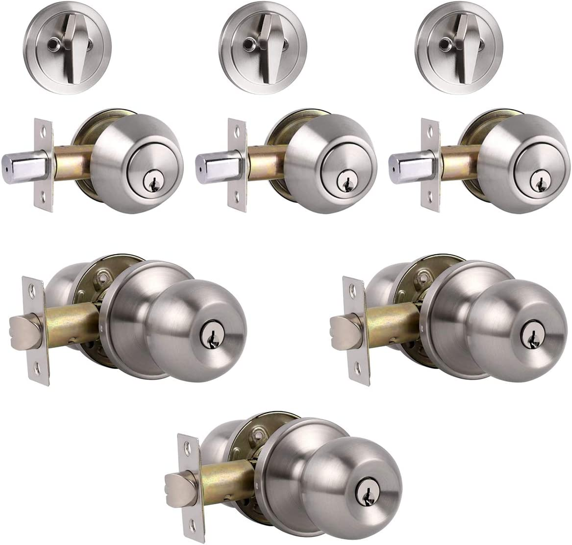 3 Pack Keyed Alike Entry Door Knobs and Single Cylinder Deadbolt Lock Combo Set Security for Entrance and Front Door with Classic Satin Nickel Finish