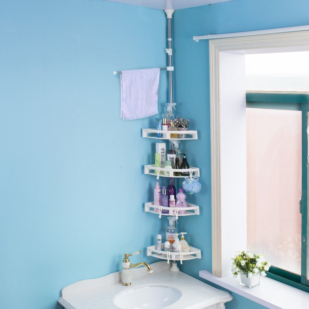 Amazon.com: Baoyouni Bathroom Shower Storage Corner Caddy Tension ...