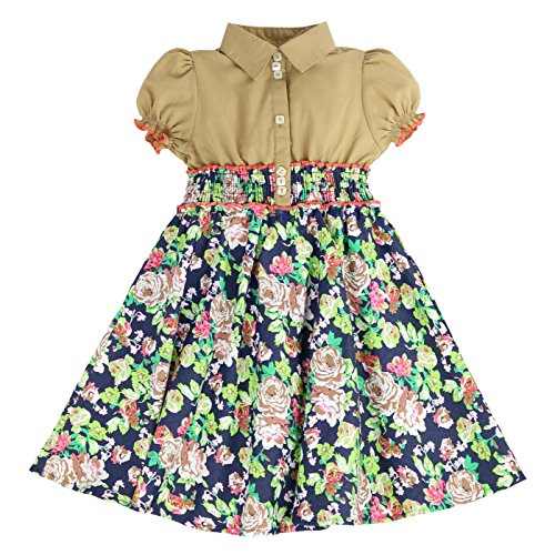 MARIA ELENA - Toddlers and Girls Anna Belle Floral Light Cotton Dress in Taupe 7/8