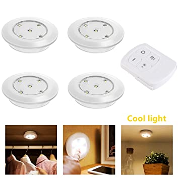 Misso Stick On Portable Wireless Remote Control Puck Light Under Cabinet Closet  Light With Controller