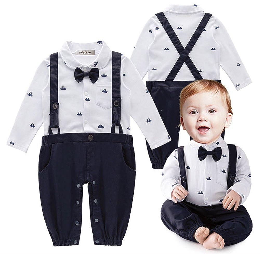 eebb9ffb9 stylesilove Sailor Boat Print Faux Suspender Formal Wear Baby Boy Romper  (70/3-6 Months, Navy Blue)