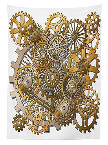 Clock Decor Tablecloth The Gears in the Style of Steampunk Mechanical Design Engineering Theme Dining Room Kitchen Rectangular Table Cover Gold and Brown