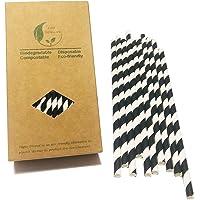 Papierstrohhalme, Schwarz-Weiß gestreift, 100 Stück