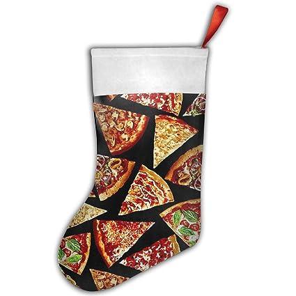 Foodie Pizza rebanadas de Pizza Impresión Vintage Pleuche Craft de Navidad Papá Noel rojo Navidad calcetines
