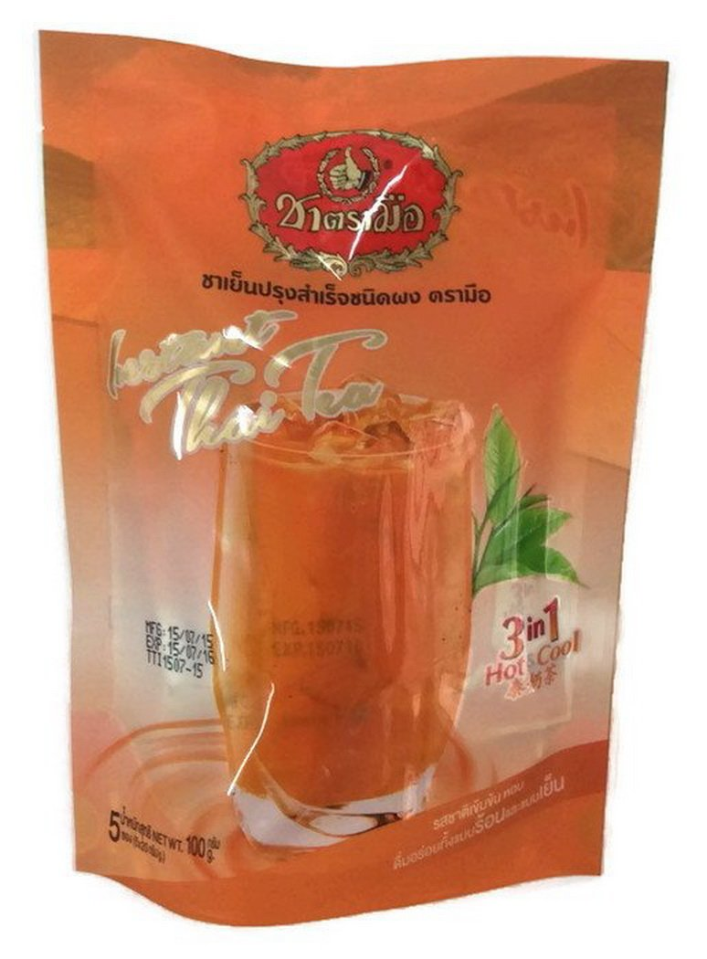 Number One Brand Instant Thai Tea 3 in 1 Tea Drinks Both Hot and Cold 2 Bags X 5 Sachets