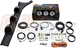GlowShift Diesel Gauge Package for 1986-1993 Dodge Ram Cummins First 1st Gen - White 7 Color 60 PSI Boost, 1500 F Pyrometer EGT & 30 PSI Fuel Pressure Gauges - Black Triple Pillar Pod