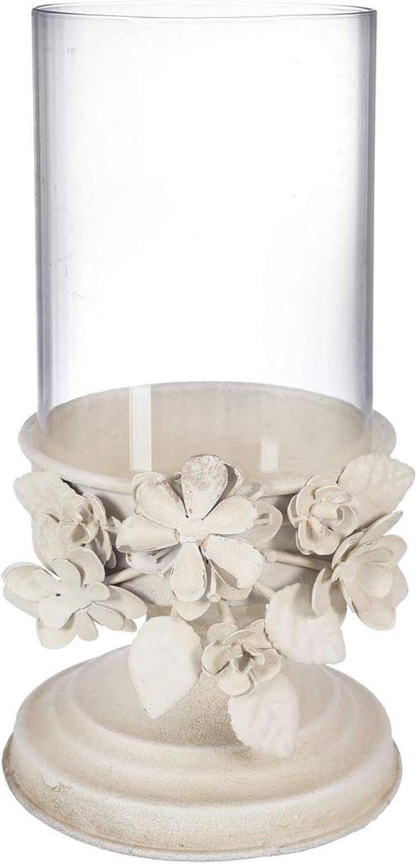 Floral D/écoration De Table Chandelier Porte-Bougie Bougeoir sur Pied Vintage Shabby Chic Ivoire Clair Antique CdCasa Bougeoir en Fer Forg/é 12x23