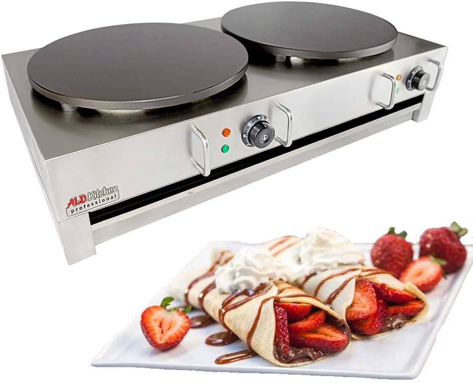 ALDKitchen Electric Crepe Machine Griddle, Commercial Electric Plate Crepe Machine Snack Machine Electric Hot Plate Double
