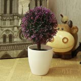 LANJIE Simulation Of Plant Flowers Bonsai Tree Ornaments Potted Plants Fake Tree Grass Ball Plastic Flower Table Decoration Fruit Purple
