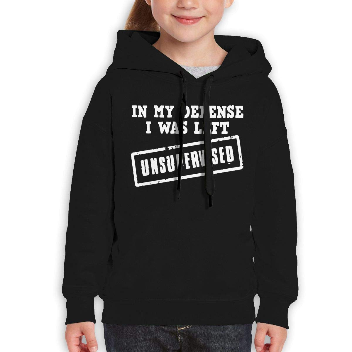 Boys Girls in My Defense I was Left Unsupervised Teen Youth Hoodie Black