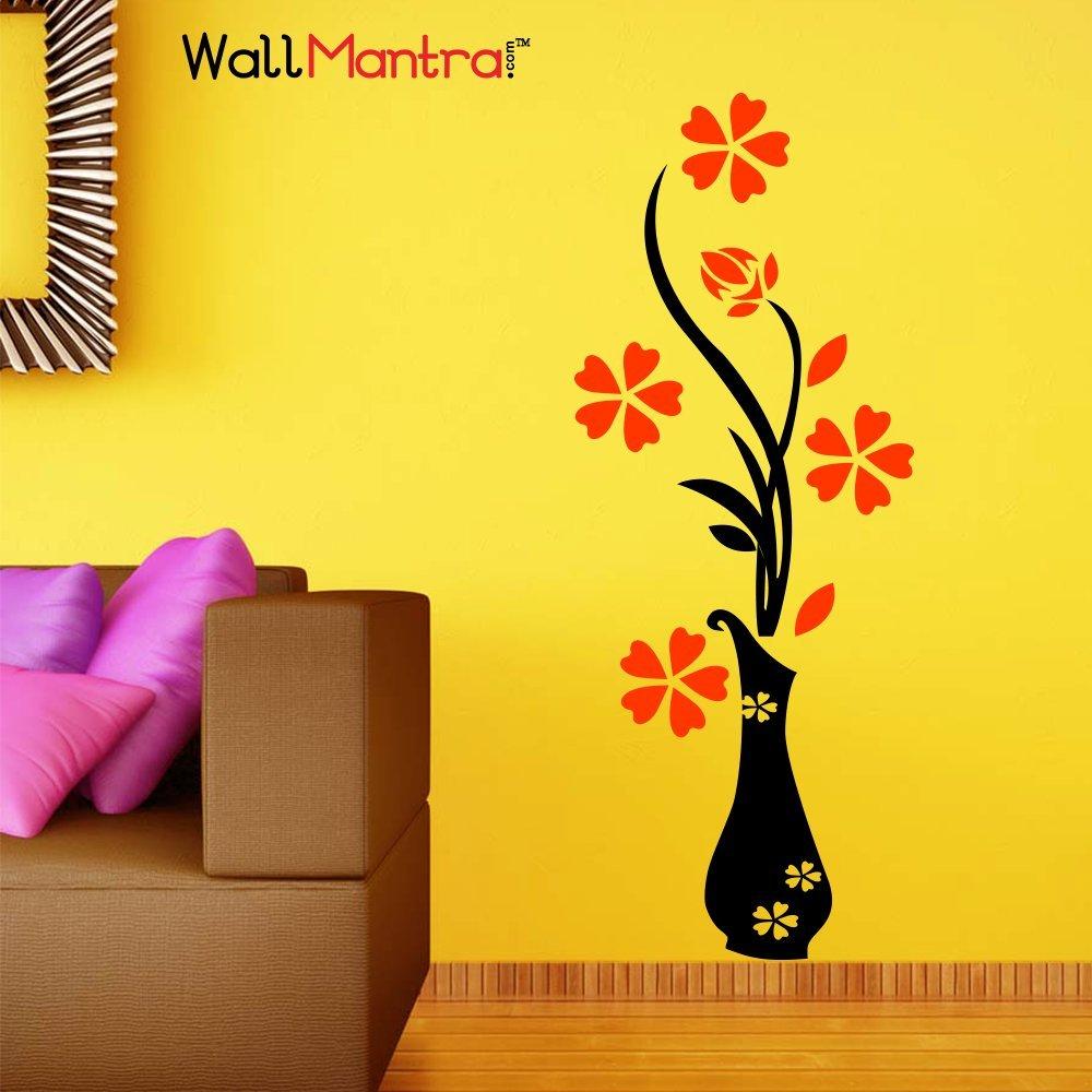 Wall Mantra \'Flower Pot\' Wall Sticker (PVC Vinyl, 50 cm x 120 cm ...