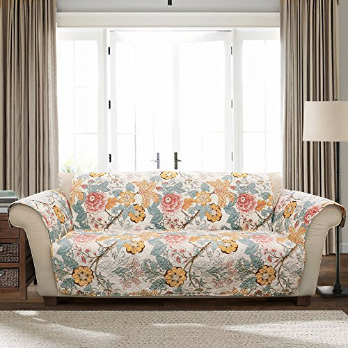 Lush Decor Sydney Furniture Protector-Floral Leaf Garden Pattern Sofa Cover-Blue and Yellow from Lush Decor
