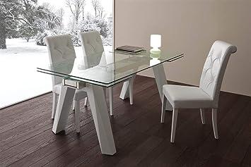 Tavolo da cucina allungabile in vetro Caronte - SG1521 ...