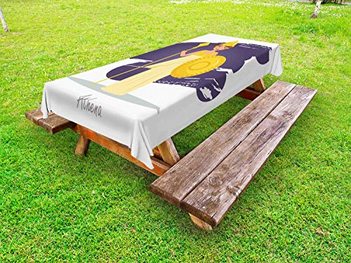 - Ambesonne Athena Outdoor Tablecloth, Calligraphic Design of a Symbolic Lady Cartoon Style, Decorative Washable Picnic Table Cloth, 58