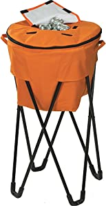 Picnic Plus 72 Can Insulated, Leakproof Tub Cooler with Stand and Travel Bag Orange