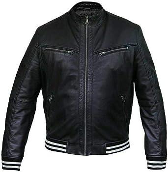 III-Fashions Mens Vintage Distressed Brown Motorcycle Genuine Leather Biker Bomber Jacket