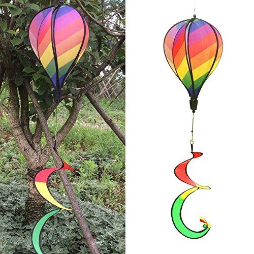 Rainbow Stripe Windsock - Autone Rainbow Stripe Windsock Hot Air Balloon Wind Spinner Outdoor Garden Yard Decor