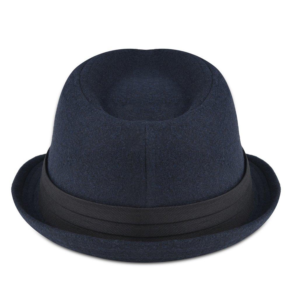 Vbiger Woolen Fedora Trilby Hat Fit 22.00-22.83 Wide