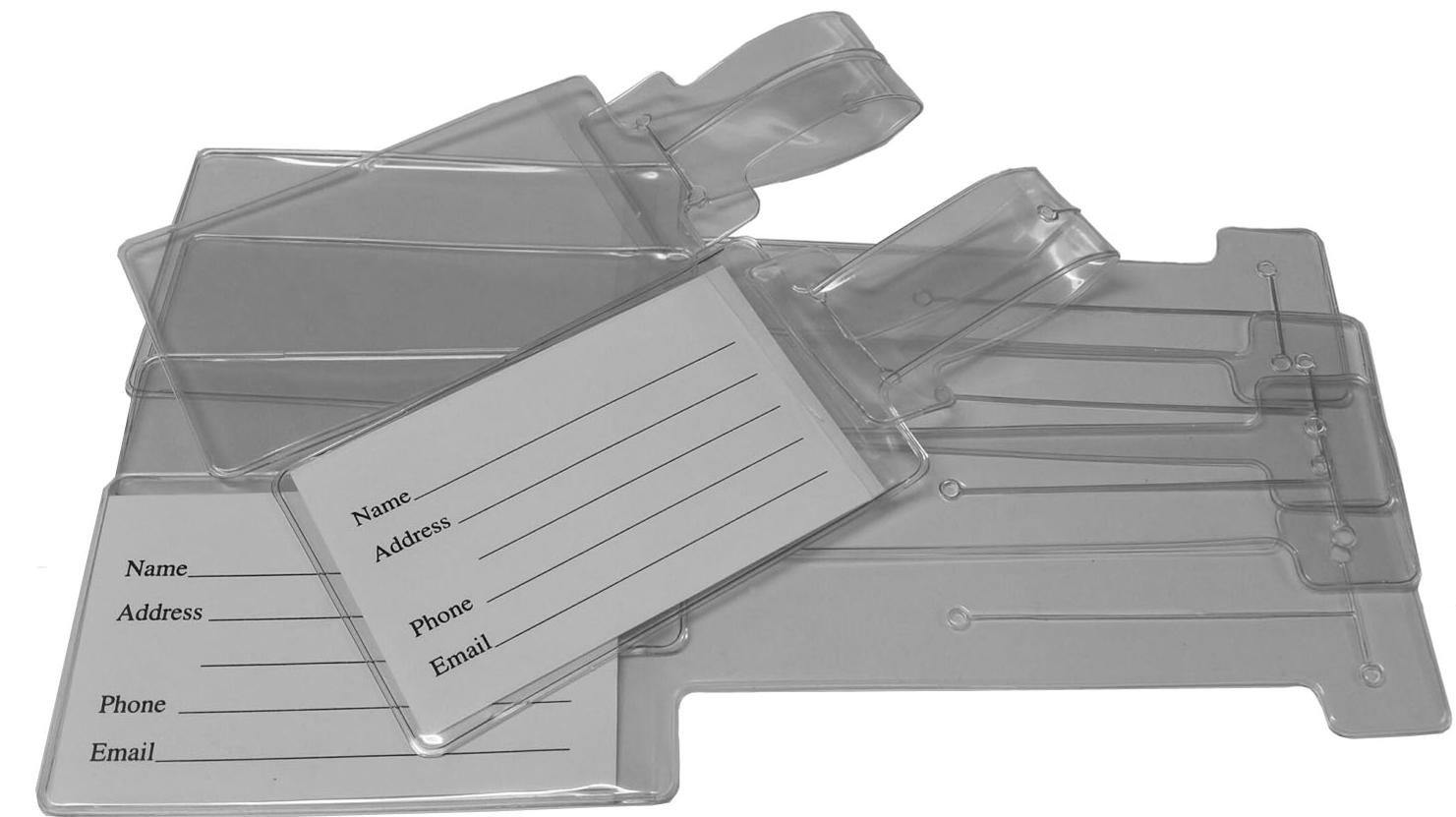 Small Clear Vinyl Self-Looping LUGGAGE TAGS 9 x 2 1/2 Set of 25 Business Card