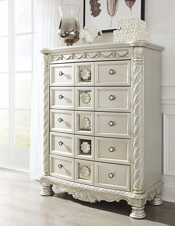 Signature Design by Ashley B750-46 Cassimore Nightstand, Pearl Silver