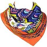 Western Navajo - Elegant Luxurious 100% Silk Scarf - Orange & White - 22 x 22 Inch