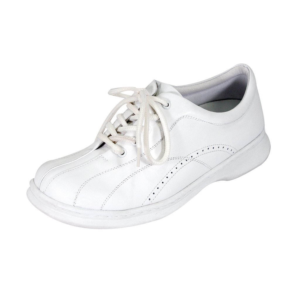 24 Hour Comfort  Gia (1019) Women Wide Width Leather Lace up Shoes White 10.5 by 24 Hour Comfort