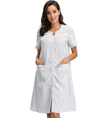 0ca51e744 Zexxxy Womens Button Down Sleepwear Cotton Duster Lounger Robe Short Sleep  House Dress Grey S
