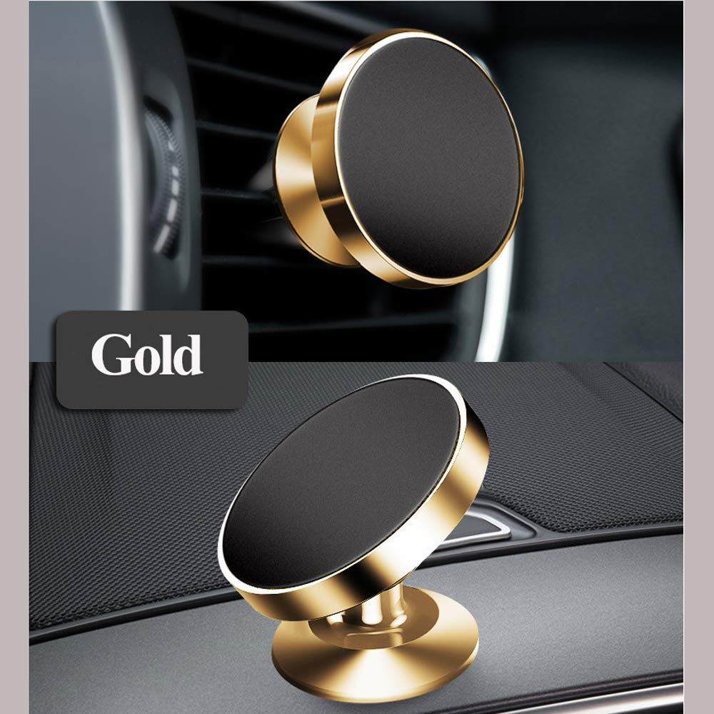 LucaSng Universal Magnetic Car Phone Holder, 2PCS Rotatable Car Phone Mounts for Dashboard and Air Conditioner Outlet (Gold)