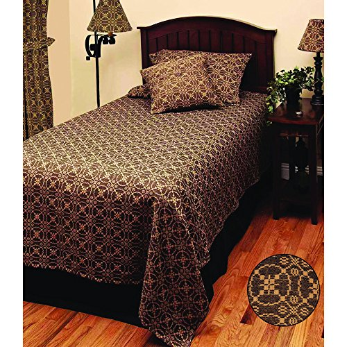 Marshfield Jacquard Bedcover King Black by Home Collections by Raghu