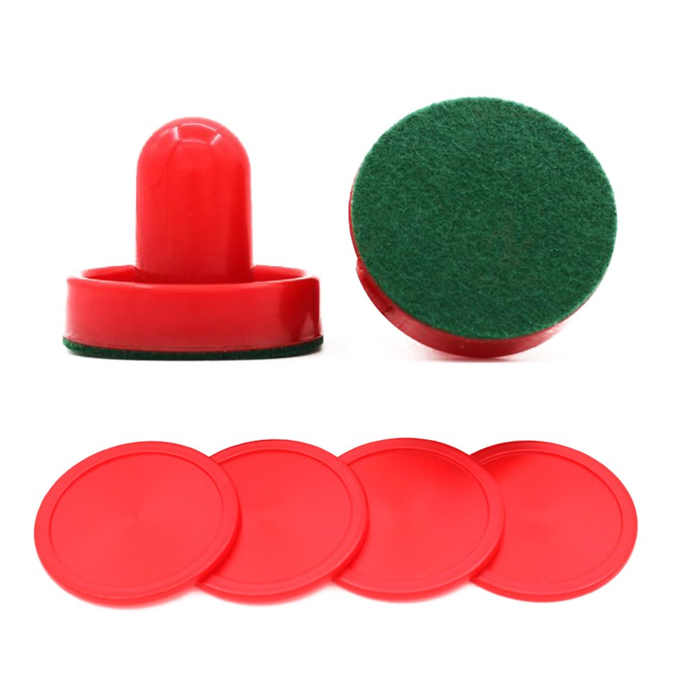 Amersumer 96mmx70mm Set of Two Red Air Hockey Pushers and Four Red Pucks For Kids. (96mmx70mm)