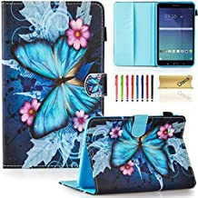 "T377 Case, Tab E 8.0"" Case, Dteck(TM) Slim Fit Colorful Painted PU Leather Case Cover [Card Slot][Stylus Holder]Flip Stand Case for Samsung Galaxy Tab E 8.0 SM-T375/T377a/v/p Tablet, Butterfly&Flower"