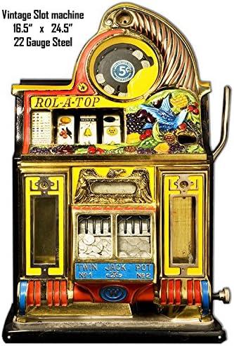 Slot Machine Metal Sign