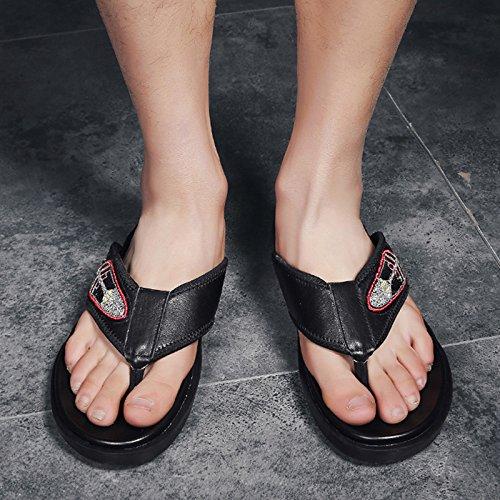 Hombres Negro US Hombre JIANXIN Color EU Verano para Antideslizantes Ropa Zapatillas Sandalias 7 Negro Tamaño 9 UK De Chanclas Bordado 39 De Cuero 6UzqU