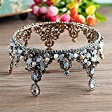 Vintage luxury crown round bridal Crown Bridal Jewelry boutique headdress handmade crystal wedding ornaments , baroque retro