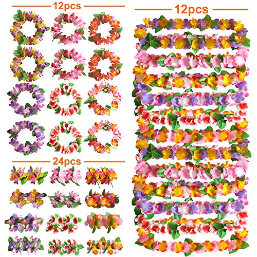 Satkago 48pcs Hawaiian Party Decorations ,12 Hawaiian Necklace 12pcs Hawaiian Garland Headwear 24pcs Bracelet for Holiday Wedding Beach Dance Birthday Hawaiian Luau Party Supplies