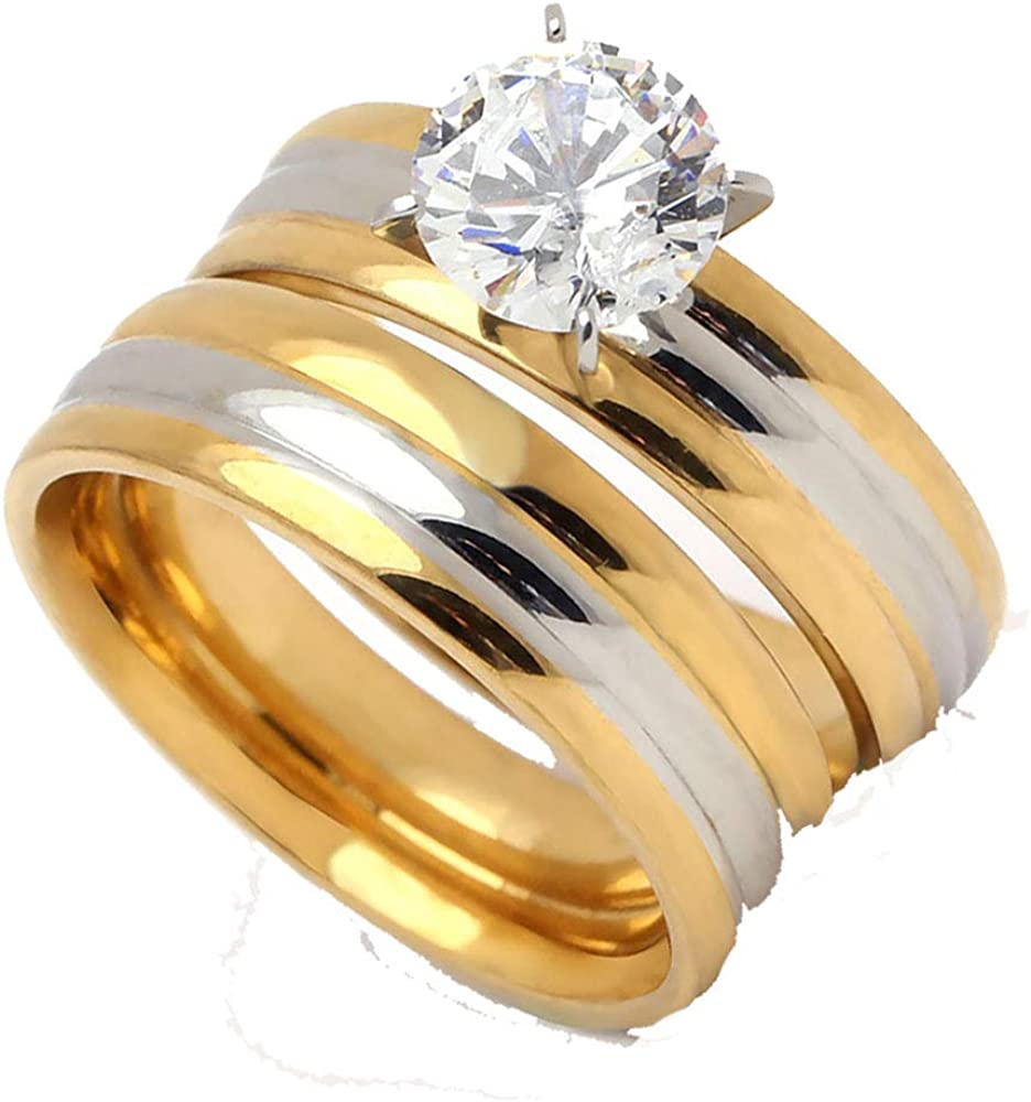 Ginger Lyne Collection Tabitha Beautiful 2pcs Stainless Steel Engagement Wedding Ring and Band Set