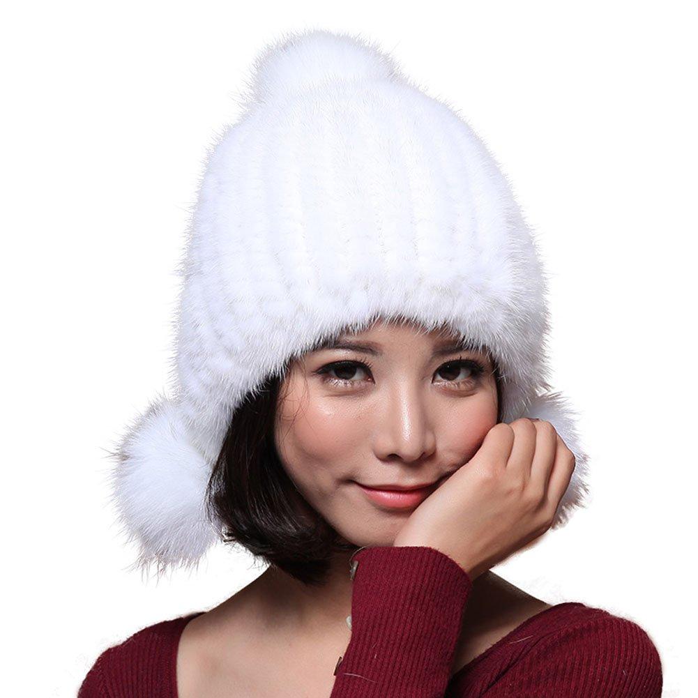 MINGXINTECH womens genuine mink fur cap warm winter skiing outdoors fox fur balls