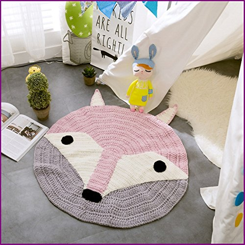 Fox Handmade Nordic Carpets Carpet Kids' Room Game Pad Coffee Table Area Rug Children Play Floor Mat (Fox Race Frame)