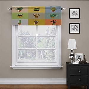carmaxs Bedroom Valances for Windows Vintage Scalloped Valance Window Curtain Botanical Cactus Flowers in Vase Succulent Peyote Essence Tropical Polka Dots Motif 42