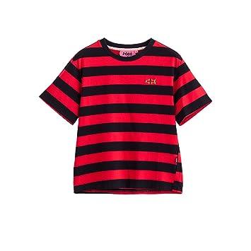 WLG Camiseta de Manga Corta a Rayas Rojas de Verano para Mujeres Camiseta de Manga Corta de Salvajes para Mujeres y Cuello Redondo de Verano: Amazon.es: ...