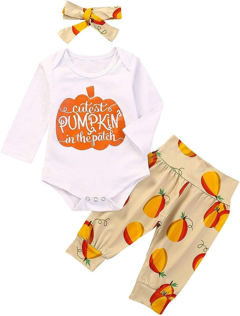IMEKIS Toddler Newborn Baby Girl My 1st Halloween Pumpkin Costume Ruffle Long Sleeve Romper Pants Headband 3pcs Fancy Outfits Princess Birthday Cake Smash Photo Shoot Props