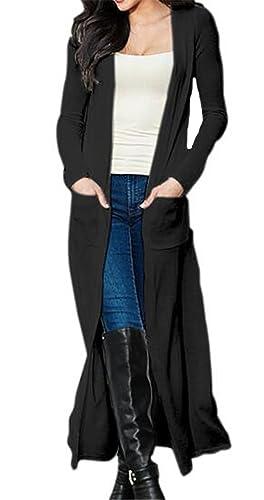 Tayaho Abrigos Mujer Chaquetas Manga Larga Largo Coat Color SÓLido Con Bolsillos Abrigos Ocasionales...