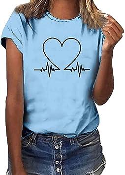 Keepwin ¡Nueva!Camiseta de Mujer Manga Corta Corazón Impresión Blusa Camisa Cuello Redondo Basica Camiseta Suelto Verano Tops Casual Fiesta T-Shirt Mujer Moda Redondo Algodón T-Shirt(Cielo Azul,S): Amazon.es: Deportes y aire libre