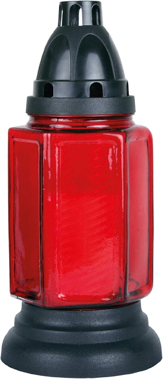 HS Candle Grableuchte aus Glas Rot 24cm inklusiv 5 Nachf/üllkerzen ca