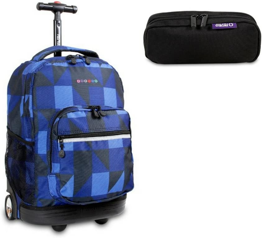 J World New York Sunrise Rolling Backpack w//Free Jojo Pencil Case Zega//Black