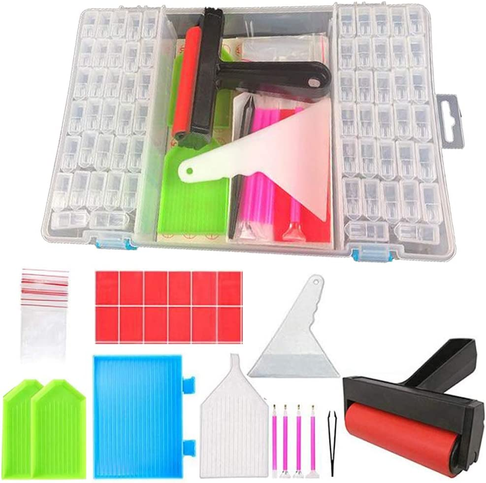 Diamond Painting Art Kits for Adults Tools Kit Storage Box with Tools Diamond Embroidery Art Supplies Organizer Accessories Storage Container