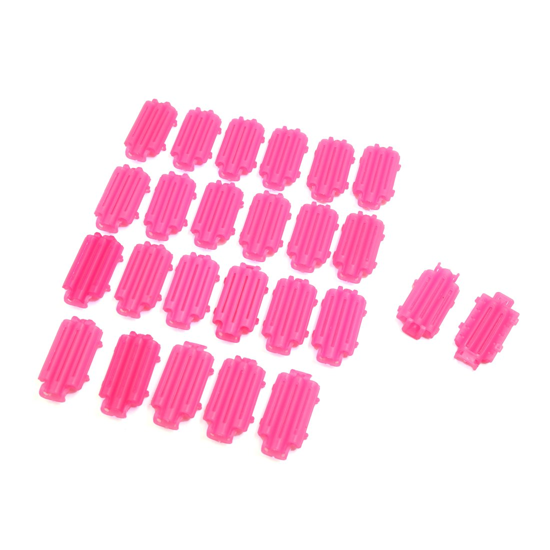 uxcell® 25pcs Pink Plastic Ripple Hair Makeup DIY Lady Salon Styling Roller Curler Clips Tool